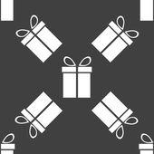 Gift web icon. flat design. Seamless gray pattern. — Vettoriale Stock
