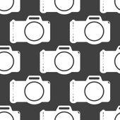 Photo camera web icon. flat design. Seamless gray pattern. — Stock Vector