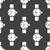 Watch,clock web icon. flat design. Seamless gray pattern. — Stock Vector