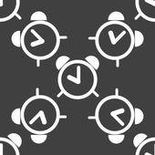 Alarm clock web icon. flat design. Seamless pattern. — Stock Vector