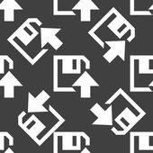 Diskette web uploadpictogram. platte ontwerp. naadloze patroon. — Stockvector