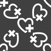 Heart web icon. flat design. Seamless pattern. — Vecteur