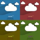 Color set Cloud download application web icon, flat design — Stock Vector