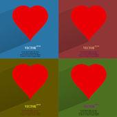 颜色设置红色的心 web 图标,平面设计 — 图库矢量图片
