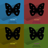 Color set butterfly. Flat modern web button with long shadow and space for your text — 图库矢量图片