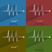 Color set heart rhythm. Flat modern web button with long shadow and space for your text — Stock Vector
