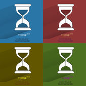 Color set Sand clock. Glass timer . Flat modern web button with long shadow and space for your text — Stock Vector