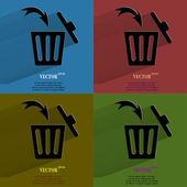 Цвет значение мусорное ведро. плоский современный веб кнопку с длинной тенью и пространства для вашего текста. — Cтоковый вектор