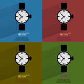 Color set Watch,clock. Flat modern web button with long shadow and space for your text. — Stock Vector