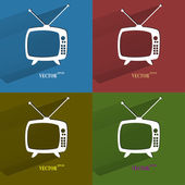 Color set Retro tv. Flat modern web button with long shadow and space for your text. — Stock Vector
