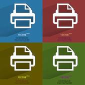 Drucker-farbpalette. wohnung moderne web-taste mit langen schatten und platz für ihren text. — Stockvektor