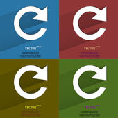 Color set arrow Update. Flat modern web button with long shadow and space for your text. — 图库矢量图片