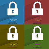 Color set padlock. Flat modern web button with long shadow and space for your text. — Stock Vector