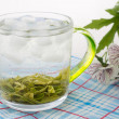 Green tea with ice in the glass with flowers — Stockfoto