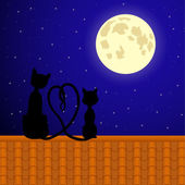 Cats sitting on the roof and stare at moon. — Stock Vector