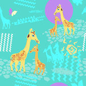 Seamless pattern with giraffes and sun — Stock Vector