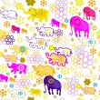 Seamless pattern with colorful elephants — Stock Vector