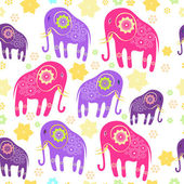 Seamless pattern with elephants — Stock Vector