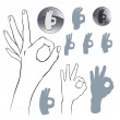 Popular hand gesture - icon set. — Vettoriali Stock