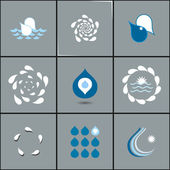 Drops with whirlpools icon set - abstract design elements collection. — Stock Vector