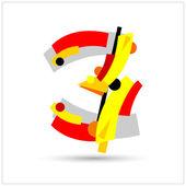 Alfabeto suprematista. números geométricos — Vector de stock