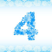 Snow alphabet. Numbers. Zero, one, two, three, four, five, six, seven, eight, nine, ten — Stock Vector