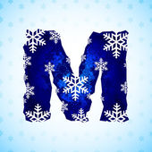 Winter decorations. Snow alphabet. Letters made of snowflakes. — Stock Vector