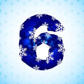 Winter decorations. Number made of snowflakes — Stock Vector