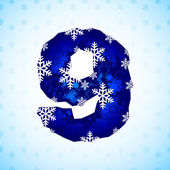 Winter decorations. Number made of snowflakes. — Stock Vector