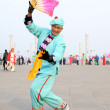 People wear colorful clothes, yangko dance performances in the s — Stok fotoğraf