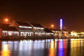 Arkitektur landskap på natten i en park — Stockfoto
