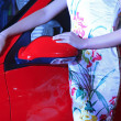 Female models in auto show, China — Foto Stock #31652141