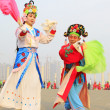 People wear colorful clothes, yangko dance performances in the s — Zdjęcie stockowe