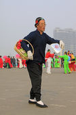 People wear colorful clothes, yangko dance performances in the s — Stock Photo
