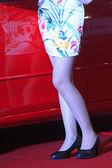 High heeled shoes of female model — Stock Photo