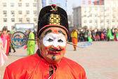 Clown face in yangko dance show, during the Chinese Spring Festi — Stock Photo