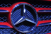Red Benz A-class cars brand in a car sales shop, Tangshan, China — Stock Photo
