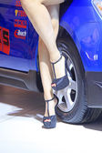 High heeled shoes of car model — Stock Photo