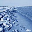 Stock Photo: Coast residual ice natural scenery