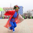People wear colorful clothes, yangko dance performances in the s — Stock fotografie