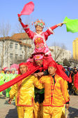 People wear colorful clothes, yangko dance variety show in the s — Stock Photo