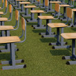 Chairs in outdoor venue in green lawn — Stock Photo #33680821