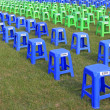 Plastic stools in the square in a park — Stock Photo