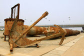 Oxidation rusty anchor industrial equipment — Stock Photo