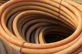 Plastic pipe stacked toghter — Stock Photo