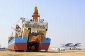 Nave era in riparazione nel dock — Foto Stock