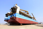 Ship was under repair in the dock — Stock Photo