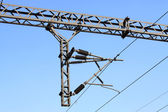 Electrification railway contact net steel column — Stock Photo