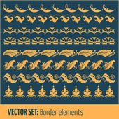 Vector set of border elements and page decoration elements — Stock Vector