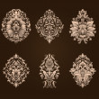 Vector set of damask ornamental elements. — Stockvector